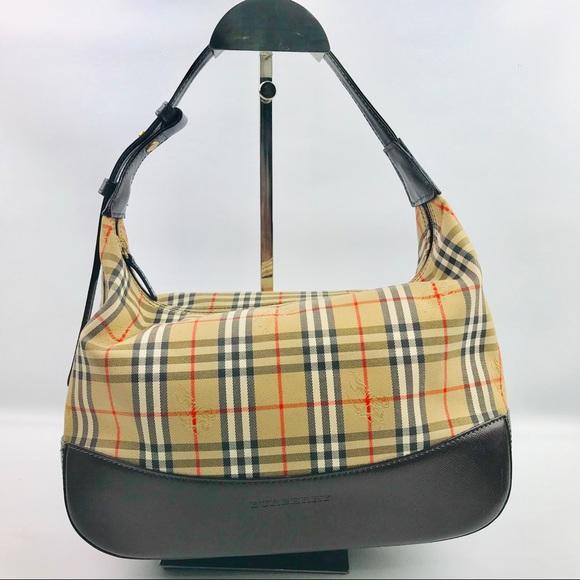 Burberry Handbags - Authentic Burberry Check Brown Handbag